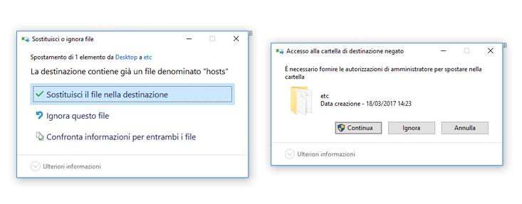Sostituisci file hosts
