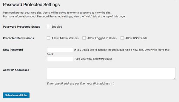 Impostazioni password protected