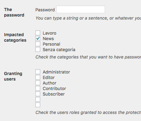 Password su categorie